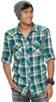 Rock & Republic Big & Tall Plaid Roll-Tab Flannel Button-Down Shirt