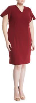 Alexia Admor Plus Tulip-Petal Sleeve Wrap-Front Dress