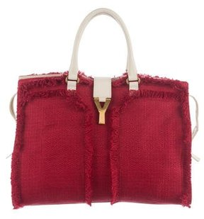 Saint Laurent Leather-Trimmed Cabas Chyc Tote - RED - STYLE
