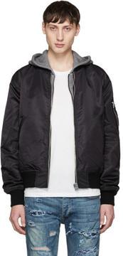 R 13 Black Hooded Flight Jacket