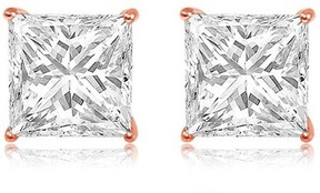 Alpha A A CZ 14kt Rose Gold Square Stud Earrings, 7mm