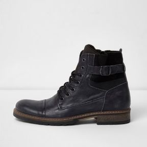 River Island Mens Black side buckle leather military boots