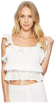 J.o.a. Tie Waist Crop Top Women's Clothing