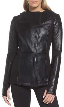 Blanc Noir Women's Faux Leather Hooded Moto Jacket