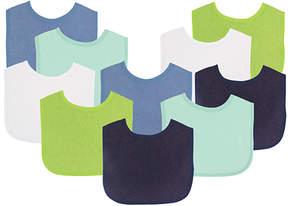 Luvable Friends Green & Blue Bib Set of 10