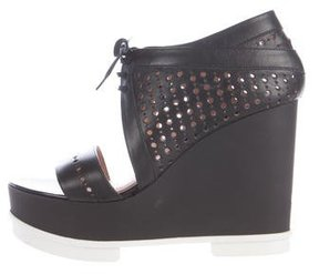 Robert Clergerie Perforated Leather Platform Wedges