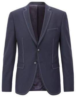 BOSS Hugo Wool Sport Coat, Extra Slim Fit Rawen 38R Dark Blue