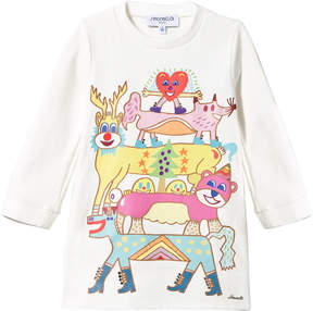 Simonetta White Cartoon Print and Diamante Sweater Dress