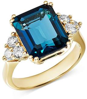 Bloomingdale's Emerald-Cut London Blue Topaz & Diamond Statement Ring in 14K White Gold - 100% Exclusive