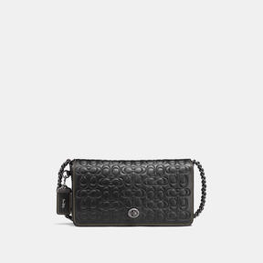 COACH DINKY IN SIGNATURE GLOVETANNED LEATHER WITH CHAIN - BLACK COPPER/BLACK