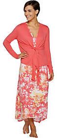 Carole Hochman Woodblock Floral Rayon Spandex Lounge Dress Set