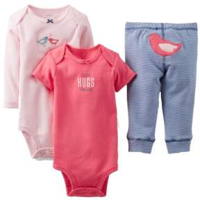 Carter's Infant Girls Pink Bird 3 Piece I Love Hugs From Daddy 3 Piece Outfit Set 6M