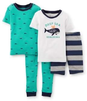 Carter's Baby Clothing Outfit Boys 4-Piece Snug Fit Cotton PJs Whale Tour Teal 6M