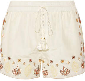 Rachel Zoe Stephanie Embroidered Cotton And Silk-blend Voile Shorts - Ecru