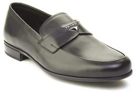 Prada Men's Leather Loafer Shoes Black.