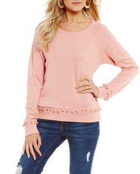Copper Key Pom Pom Trim Sweatshirt
