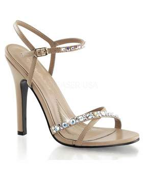 Unique Vintage Taupe Rhinestone Ankle Strap Melody Sandals