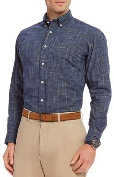Daniel Cremieux Space-Dye Check Poplin Long-Sleeve Woven Shirt