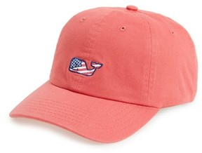 Vineyard Vines Men's Flag Whale Logo Baseball Cap - Red