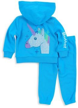Butter Shoes Baby Girl's & Toddler's Two-Piece Unicorn Hoodie & Pants Set