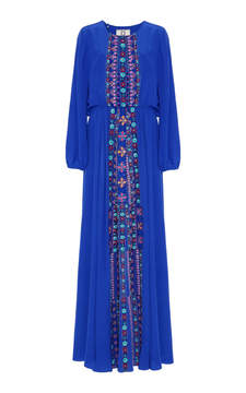 Figue Majorelle Blue embroidered rebecca dress