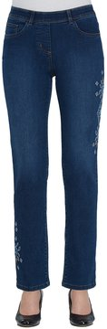 Allison Daley Embroidered Pull-On Modern Slim Leg Jeans