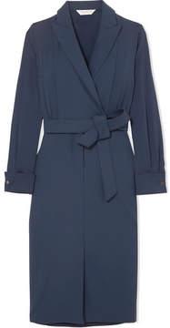 Max Mara Wrap-effect Stretch-wool And Silk Crepe De Chine Dress - Blue