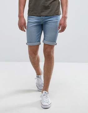 MANGO Man Denim Shorts In Light Wash Blue