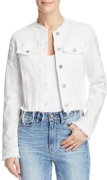 GUESS Appliqué-Trimmed Frayed Denim Jacket
