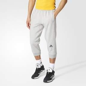 adidas Men Basketball Slim 3-Stripe 3/4 Pants - S - Gray