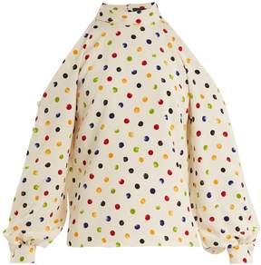 DAY Birger et Mikkelsen ANNA OCTOBER Cut-out shoulder polka-dot crepe top