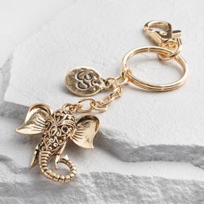 World Market Gold Elephant Charm Keychain