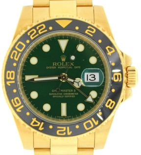 Rolex GMT Master II 116718LN 18K Yellow Gold Green Dial 40mm Watch