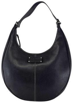 Kate Spade Black Leather Cream Stitched Shoulder Bag - BLACK - STYLE