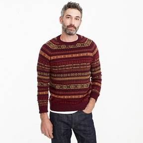 J.Crew Lambswool Fair Isle crewneck sweater in burgundy