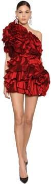 One Shoulder Ruffled Organza Mini Dress