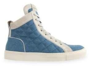 Balmain Quilted Denim & Suede Hi-Top Sneakers