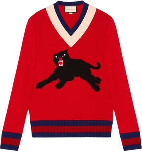 Wool sweater with panther intarsia