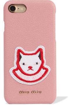 Miu Miu Appliquéd Textured-leather Iphone 7 Case - Pink