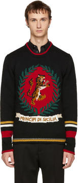 Dolce & Gabbana Black Tiger Sweater