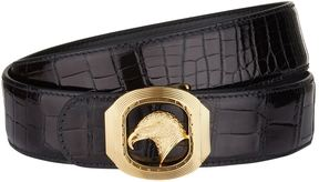 Stefano Ricci Eagle Head Buckle Patent Croc Belt