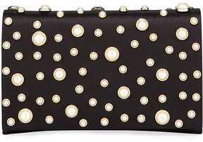 Neiman Marcus Satin Pearly Flap Clutch Bag