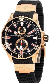 Ulysse Nardin Maxi Marine Diver Black Dial With Wave Design Automatic 18 Carat Rose Gold Men's Watch