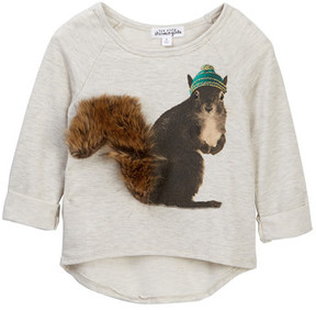 Ten Sixty Sherman Squirrel Faux Fur Trimmed Sweater (Little Girls)