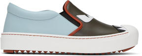 Fendi Grey and Blue Bag Bugs Slip-On Sneakers