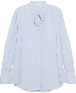 3.1 Phillip Lim Faux Pearl-embellished Cotton-poplin Shirt - Blue