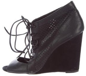 Maje Perforated Lace-Up Wedges