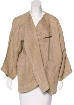 eskandar Linen Plaid Cardigan
