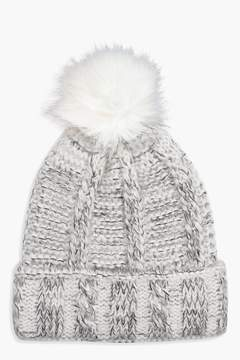 boohoo Fleece Lined Knitted Pom Beanie