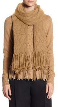 Akris punto Cable-Knit Fringe Wool & Camel Hair Scarf